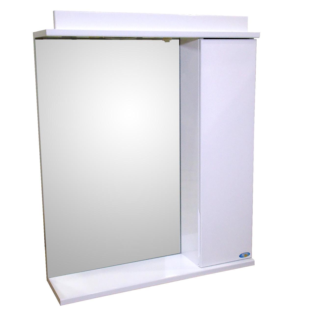 Зеркало 60 для ванной комнаты с подсветкой и шкафчиком Лаконика  белый