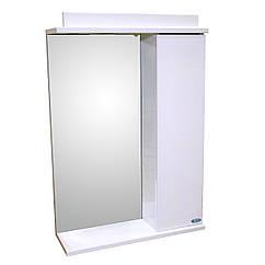 Зеркало 50 для ванной комнаты с подсветкой и шкафчиком Лаконика  белый