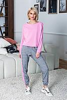 Необычный женский спортивный костюм с клетчатыми брюками и укороченной кофтой, фото 1