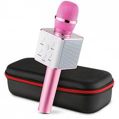 Беспроводной караоке микрофон колонка Bluetooth MagicMusic Q7 с чехлом Pink