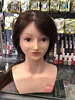 Голова-манекен учебная c плечами (натуральные волосы), Шатенка, фото 1