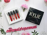 Набор помад Kylie в мраморной черной коробке 4 шт реплика, фото 1
