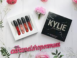 Набор помад Kylie в мраморной черной коробке 4 шт реплика