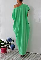 Платье оверсайз светло-зеленого цвета из трикотажа в пол