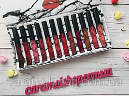 Набір рідких матових помад Kylie By Kylie Cosmetics 12 шт мармур White репліка