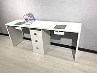 Широкий стол на два рабочих места с мощными вытяжками