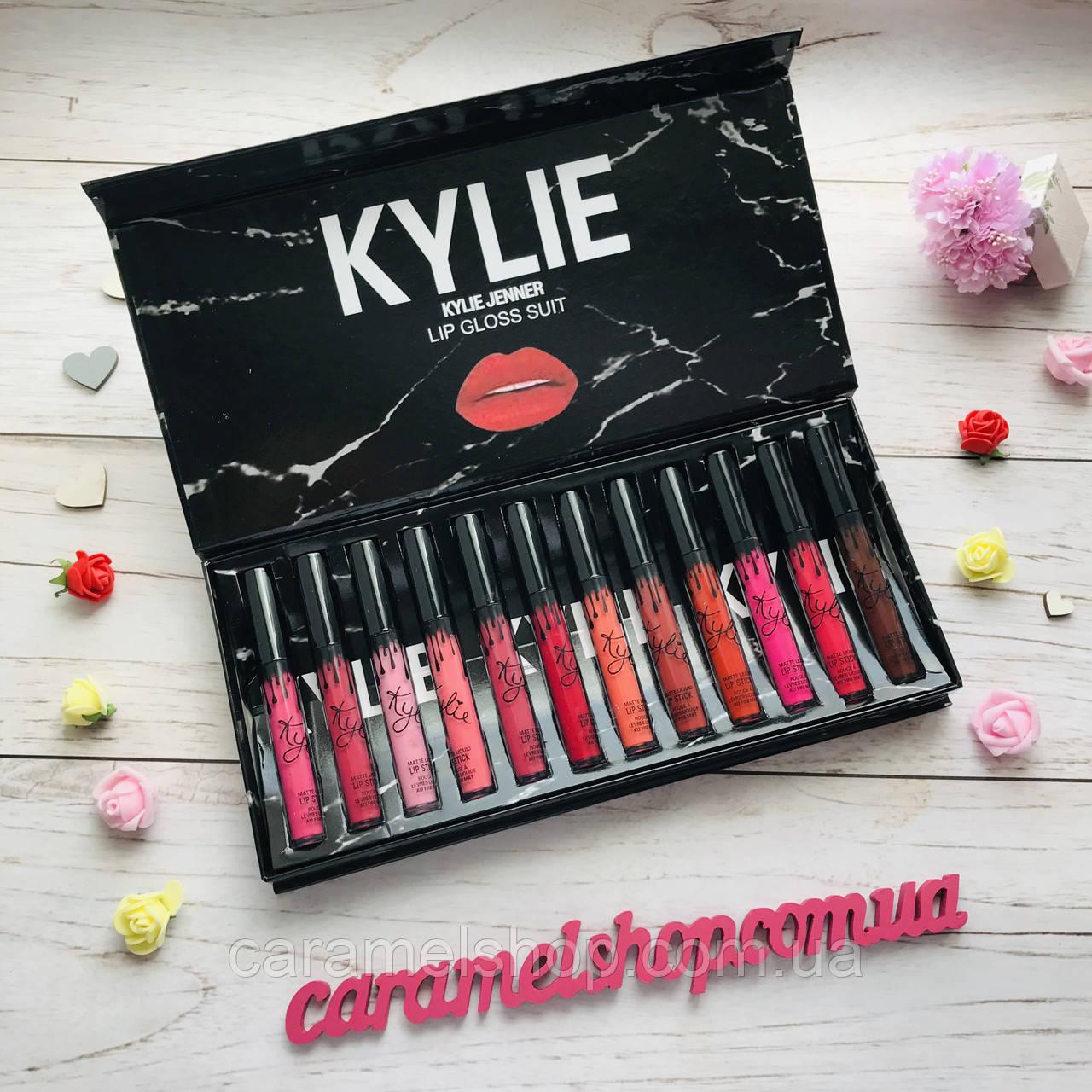 Набор жидких матовых помад Kylie By Kylie Cosmetics 12 шт мрамор Black реплика