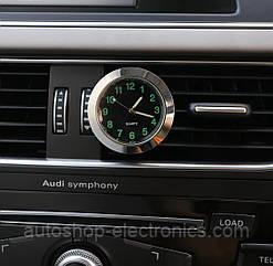 Автомобильные часы в решетку воздуховода или на скотч к поверхности - ЧЕРНЫЙ ЦИФЕРБЛАТ