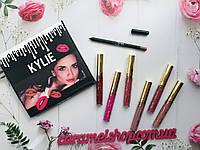 Набор матовая жидкая помада 6шт + карандаш Kylie реплика, фото 1