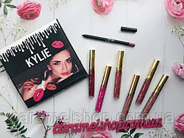 Набор матовая жидкая помада 6шт + карандаш Kylie реплика