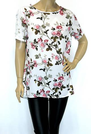 Блуза квітковий принт батал, фото 2