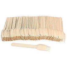 Вилка деревянная одноразовая 16 см, 100 шт