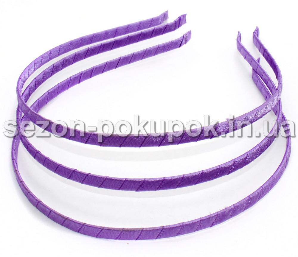Обруч для волос обмотанный атласной лентой (ширина 5мм). Цвет - СИРЕНЕВЫЙ