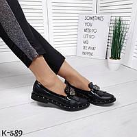 Женские кожаные черные туфли лоферы Shick, фото 1