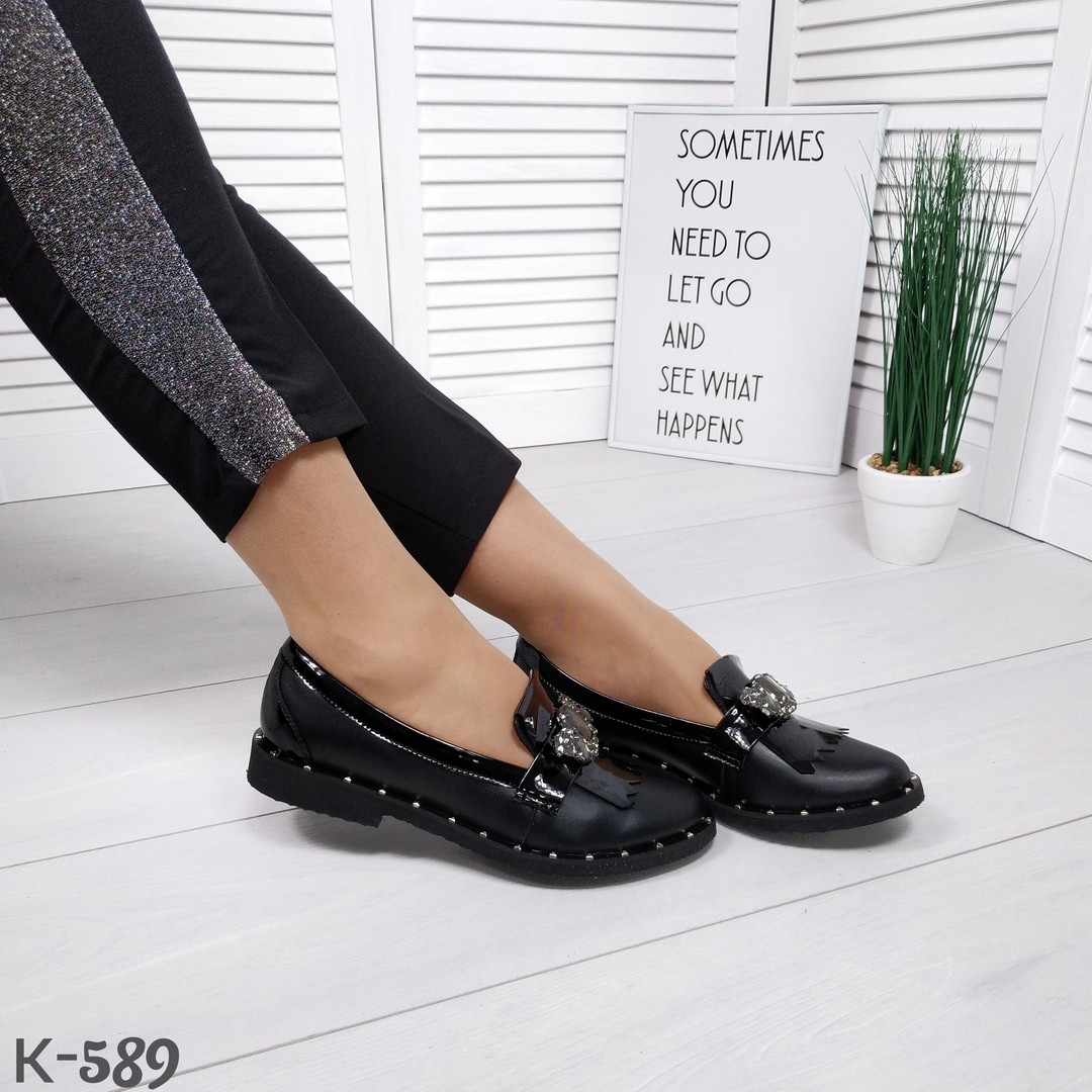 Женские кожаные черные туфли лоферы Shick