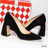 Шикарные черные замшевые женские туфли на фигурном каблучке, фото 8