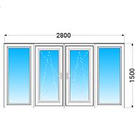Лоджия (балкон) ПВХ Brokelman (4 кам) с 1-камерным энергосберегающим стеклопакетом 2800x1500 мм