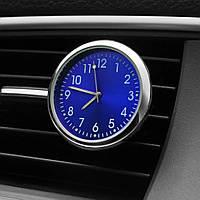 Автомобильные часы в решетку воздуховода или на скотче к поверхности - СИНИЙ ЦИФЕРБЛАТ
