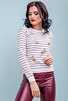 Модный женский джемпер в полоску 42-46 размер белый, фото 1