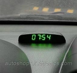 Электронные автомобильные часы + температура + напряжение - ЗЕЛЕНЫЙ ДИСПЛЕЙ