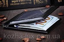 Зажим для денег чёрный, натуральная кожа, фото 3