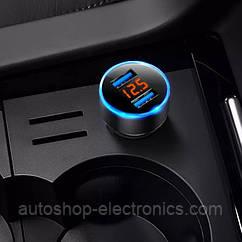 Автомобильное зарядное 2хUSB / Вольтметр / Ток зарядки - черный корпус