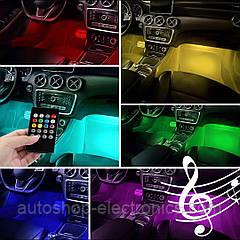Светодиодная RGB 4х12 подсветка салона + звуковой контроллер + пульт (8 цветов / 8 режимов)