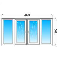 Лоджия (балкон) ПВХ Vigrand (6 кам) с 2-камерным энергосберегающим стеклопакетом 2800x1500