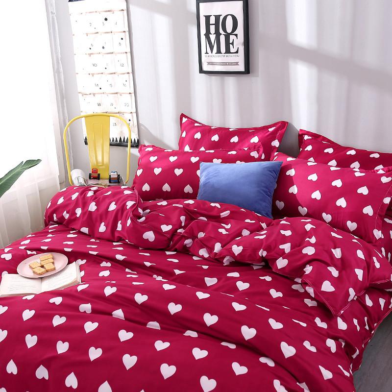 Красный комплект постельного белья Сердечки  (евро)