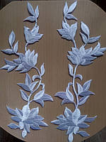 Аппликация тканевая цветы ветка лилии белая