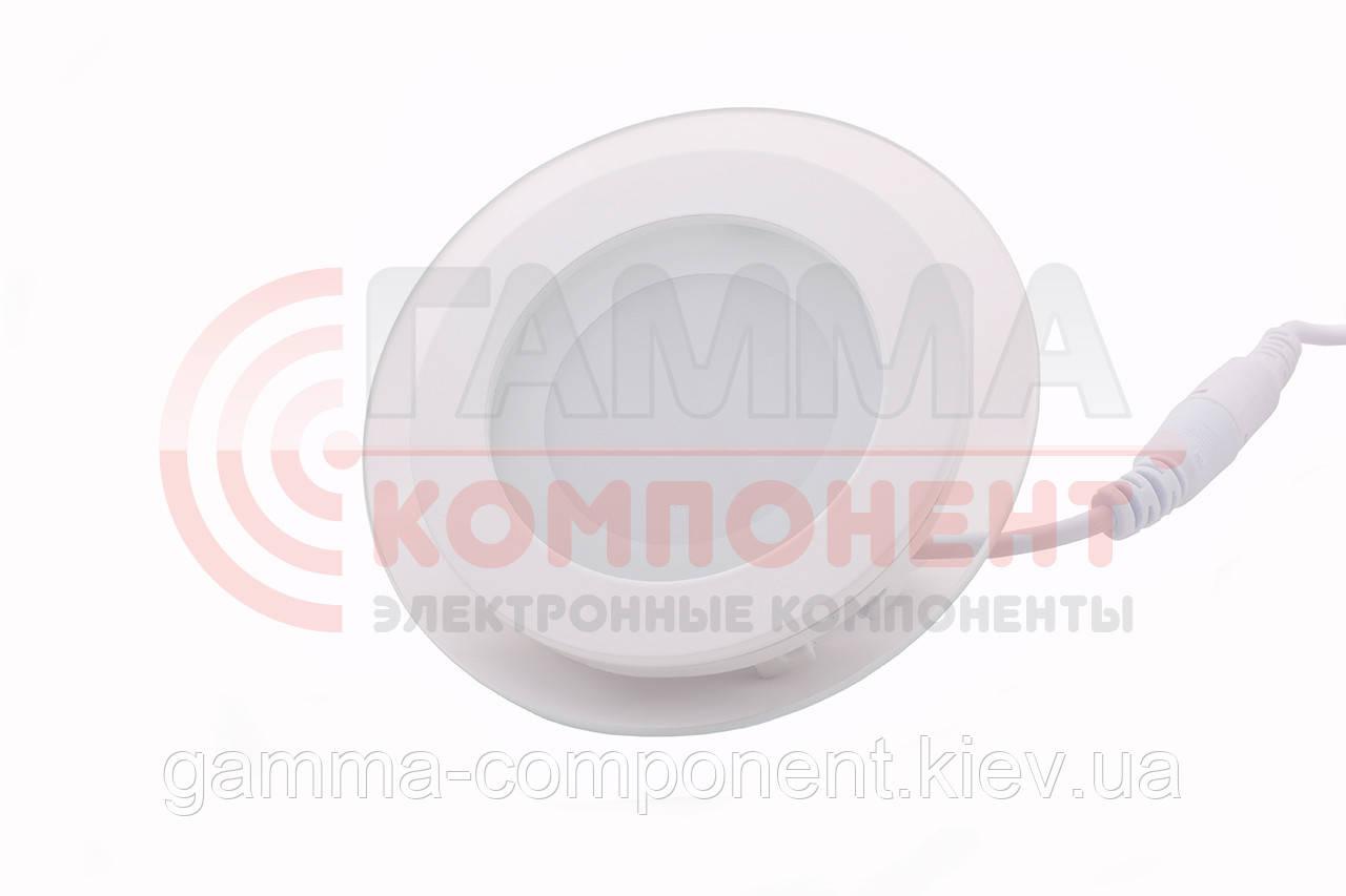 Светодиодный светильник точечный со стеклом 6Вт, квадратный, теплый белый, IP20