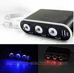 Разветвитель автомобильный ( 12V / 24V ) + USB + подсветка / Тройник в прикуриватель