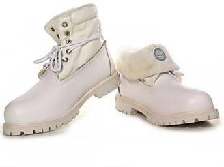 Оригинальные женские ботинки Тимберленд original Timberland Roll Top White С МЕХОМ белые оригинал