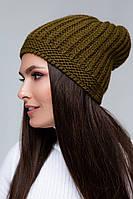 Женская шапка (One Size, хаки, 60% акрил/ 30% шерсть/ 10% эластан)