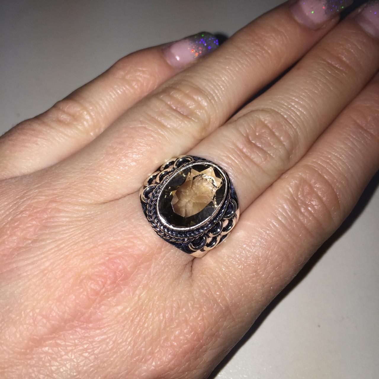 Кольцо с раух-топазом в серебре 18,5 размер. Кольцо раух-топаз Индия