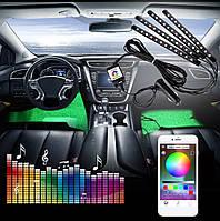 Светодиодная BLUETOOTH RGB 4х12 APP подсветка салона (управление блютус через приложение для iPhone / Android)