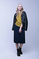 Синяя теплая юбка плиссе (46-48, темно-синий)