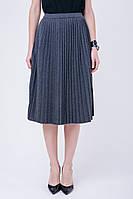 Серая юбка плиссе (46-48, серый, 50% хлопок/ 50% акрил)