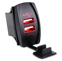 Автомобильное зарядное 2хUSB (12-24 В) с красной подсветкой / Врезная розетка - адаптер питания USB