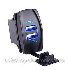 Автомобильное зарядное 2хUSB (12-24 В) с синей подсветкой / Врезная розетка - адаптер питания USB