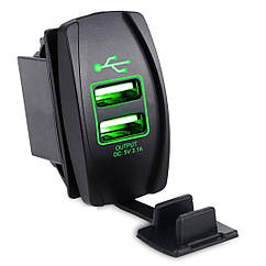 Автомобильное зарядное 2хUSB (12-24 В) с зеленой подсветкой / Врезная розетка - адаптер питания USB