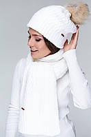 Шарф AW515 (One Size, белый , 60% акрил/ 30% шерсть/ 10% эластан)