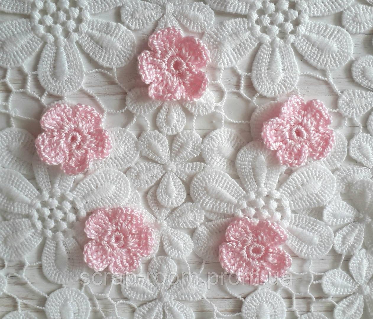 Вязаный цветок розовый, вязаный цветок 2,5 см, цветок вязаный ручная работа, розовый вязаный цветок
