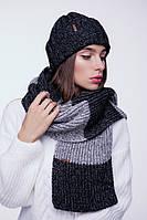 Черный длинный шарф  (One Size, черный, светло-серый маланж)