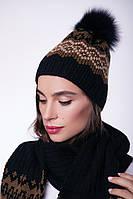 Черная шапка с помпоном (One Size, черный, хаки, кемел, 60% акрил/ 30% шерсть/ 10% эластан)