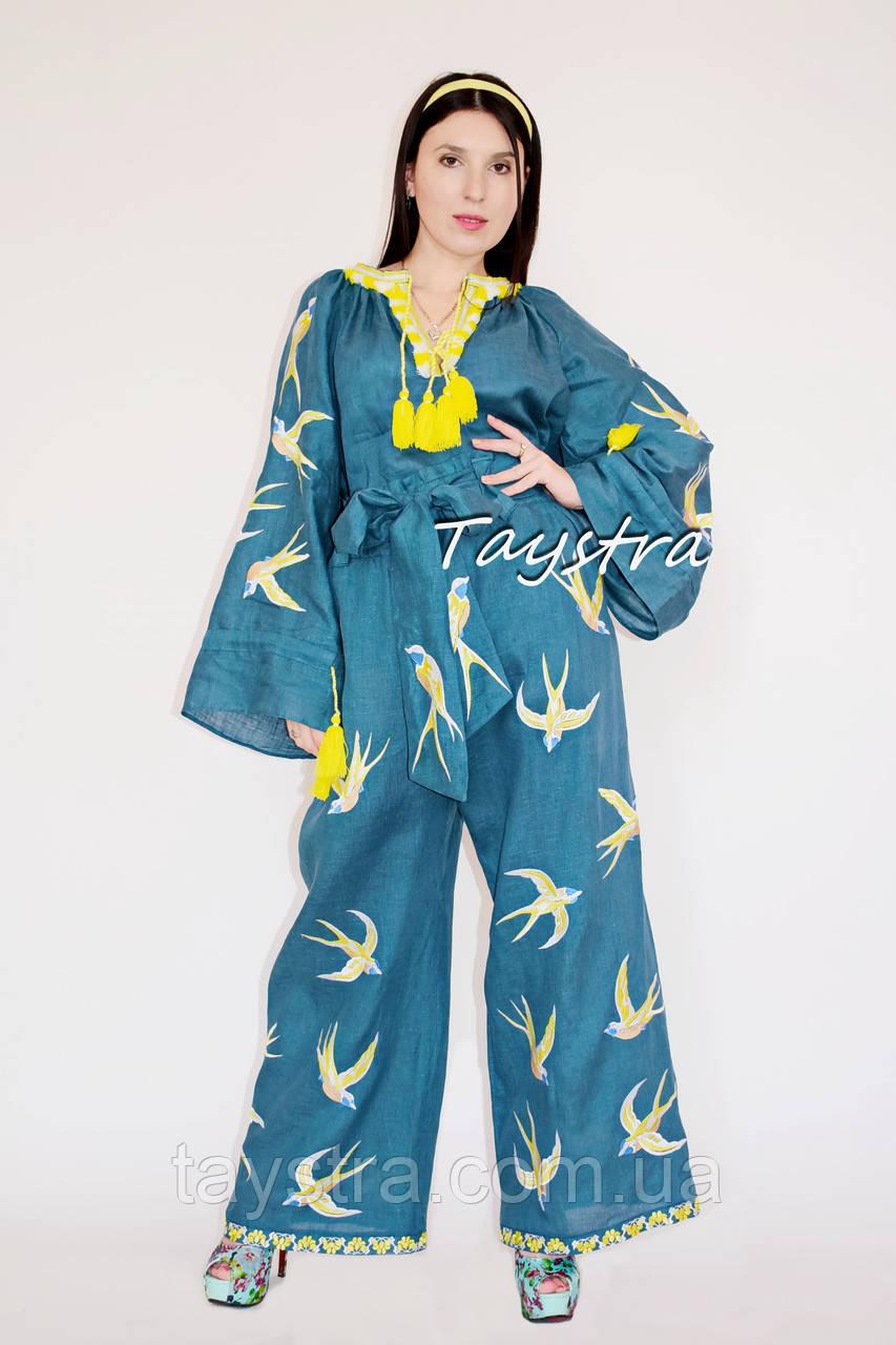 Женский костюм вышитый бохо штаны с вышивкой и поясом,  блуза бохо стиль хиппи, вышитая одежда лето кантри