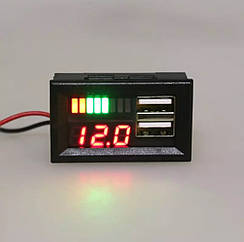 Вольтметр + зарядное 2хUSB (5V / 2.1A - красный)