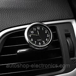 Автомобильные часы в решетку воздуховода или на скотч к поверхности - ЧЕРНО-БЕЛЫЙ ЦИФЕРБЛАТ