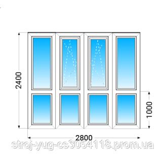 Французский балкон (лоджия) ПВХ Lider (3 кам) с 1-камерным энергосберегающим стеклопакетом 2400х2800 мм