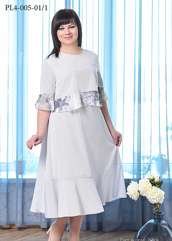 / Размер 46,48,50,52 / Женское летнее платье полуприлегающего силуэта, на подкладке